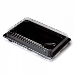boite sushi macarons noire couvercle transparent pet