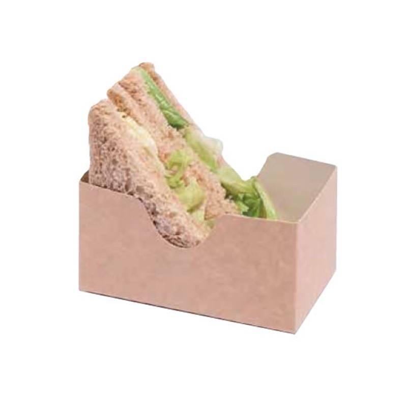 Barquette Sandwich Triangle Recyclable - Kraft - 12 cm