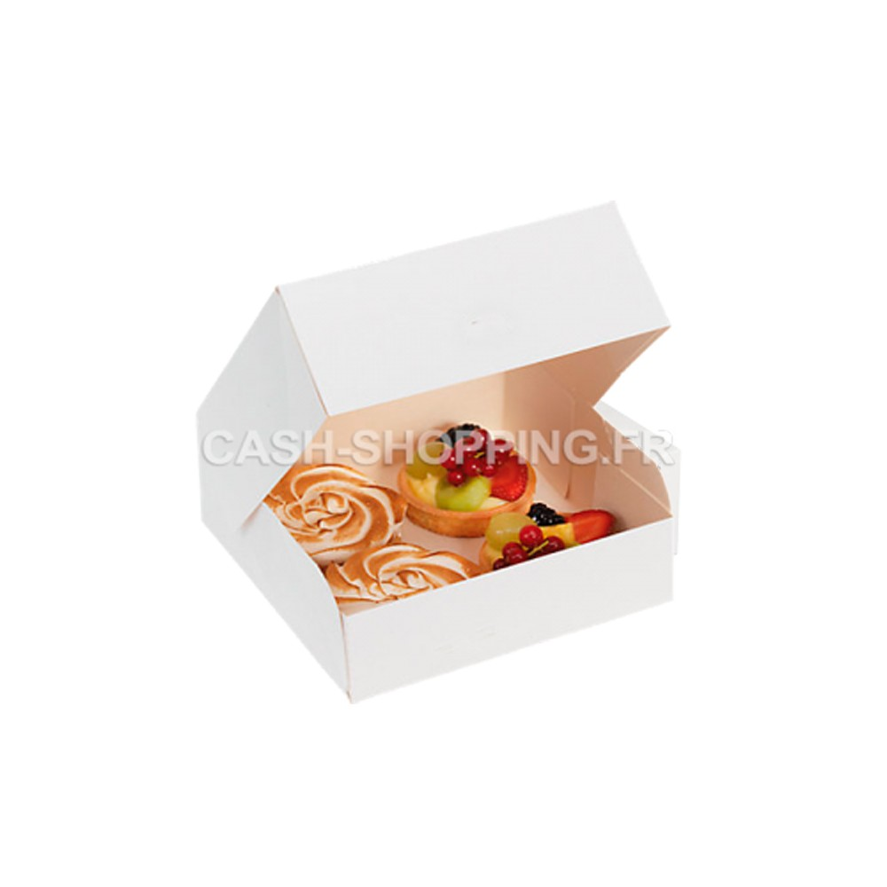 Boite Carre Blanche en Carton pour Patisserie - hauteur 8 cm