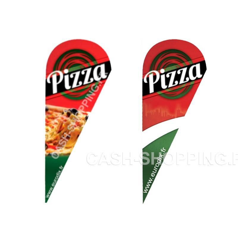 Drapeau oriflamme - visuel pizza ou neutre signalisation communication exterieure pizzeria restaurant