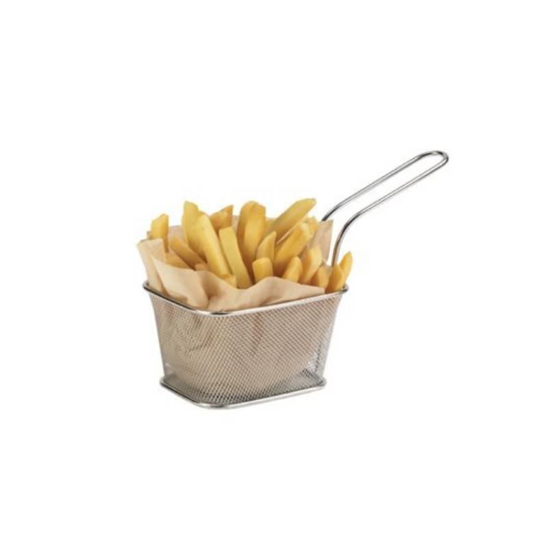 Panier porte frites service friture sur table restaurant