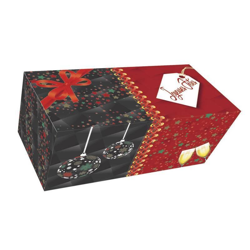 boite carton buche de noel emballage kraft illustré patissier glacier boulanger