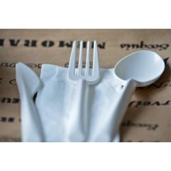 Fourchettes blanches compostables en PLA jetable pas cher restauration professionnel